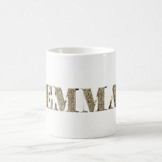 Caneca De Café Nome dourado elegante da tipografia do olhar do