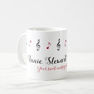 Caneca De Café nome escrito à mão + notas da música + mensagem