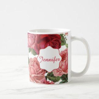 Caneca De Café Nome floral dos rosas rosas vermelha elegantes
