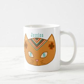Caneca De Café Nome ocidental de turquesa do gato