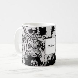 Caneca De Café Nome preto e branco do monograma do impressão do