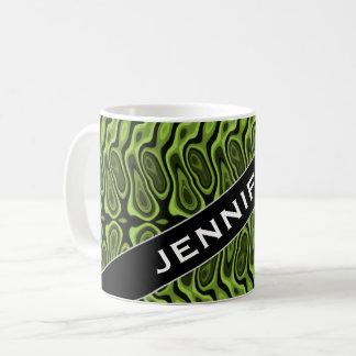 Caneca De Café Nome + Verde do abstrato Líquido-Como o teste