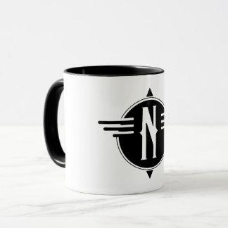 Caneca de café norte do símbolo do mapa do