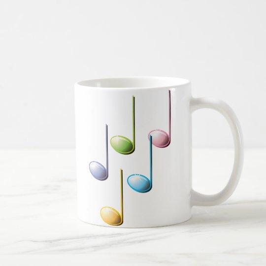 Caneca De Café Notas musicais coloridas