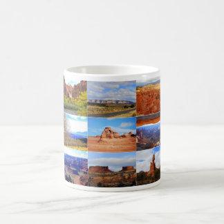 Caneca De Café Nove ícones da colagem da paisagem de Utá