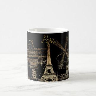 Caneca De Café Nuit do la de PixDezines Paris/goldtone