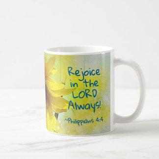 Caneca De Café O 4:4 dos Philippians exulta no senhor Sempre!