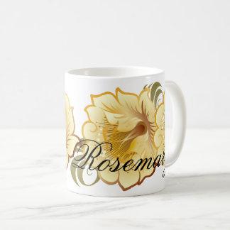 Caneca De Café O abstrato Monogrammed floresce o Amarelo-Ouro &