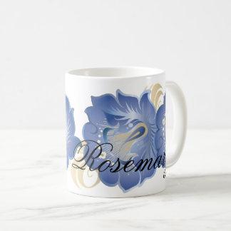 Caneca De Café O abstrato Monogrammed floresce o azul Cerulean