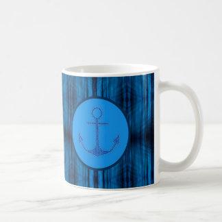 Caneca De Café O abstrato náutico formal listra a âncora do azul