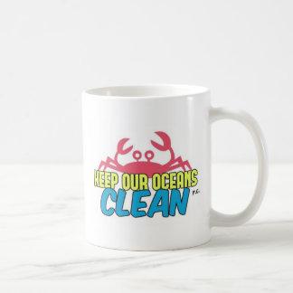Caneca De Café O ambiente mantem nosso slogan limpo dos oceanos