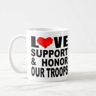 Caneca De Café O apoio do amor e honra nossas tropas