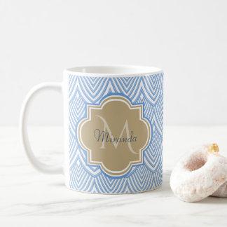 Caneca De Café O art deco ilumina - o nome azul do monograma de