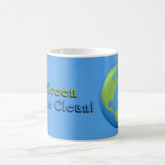 Caneca De Café O azul clássico 3D da terra vai verde, respira