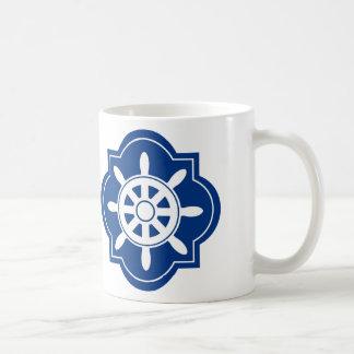 Caneca De Café O azul marinho envia a silhueta da roda