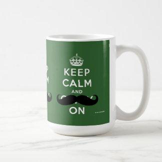 Caneca De Café O bigode mantem a calma e continua o verde de |