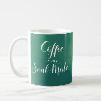 Caneca De Café O café é meu verde Watercolot da alma gémea
