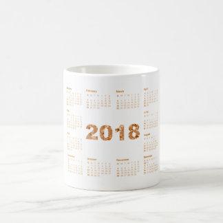 Caneca De Café O cobre do rosa branco do calendário 2018 cora