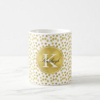 Caneca De Café O confete do Glitz do ouro pontilha o monograma