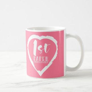 Caneca De Café ø coração do aniversário de casamento de papel