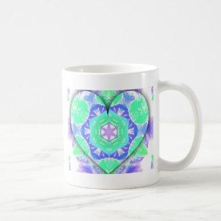 Caneca De Café O coração legal do verde 3d da hortelã da lavanda