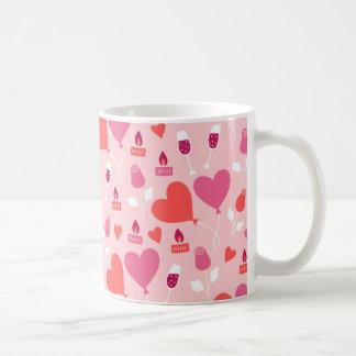 Caneca De Café O coração rosa vermelha do dia dos namorados