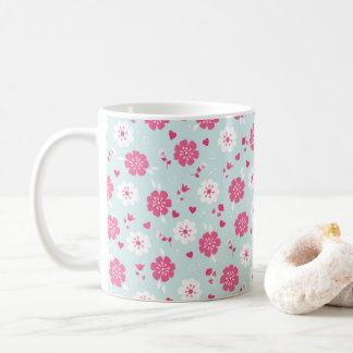 Caneca De Café O dia dos namorados floresce o rosa dos corações