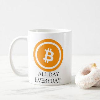 Caneca de café o dia inteiro diária de Bitcoin