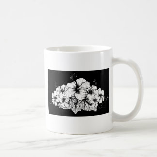 Caneca De Café O hibiscus floresce a gravura gravura a água-forte