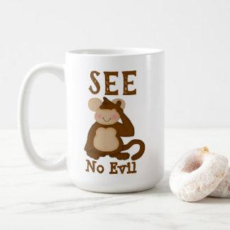 Caneca De Café O macaco engraçado não vê nenhum mau