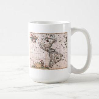 Caneca De Café O mapa de Visscher do mundo novo