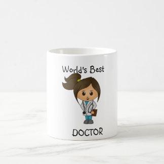 Caneca De Café O melhor doutor do mundo - imagem triguenha fêmea