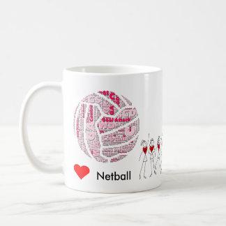 Caneca De Café O Netball do amor posiciona a nuvem da palavra
