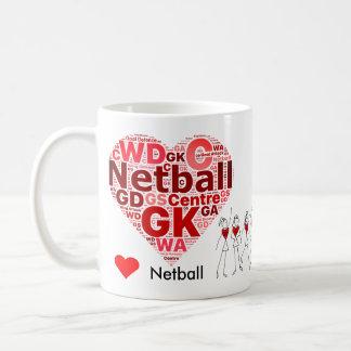Caneca De Café O Netball do coração posiciona a nuvem da palavra