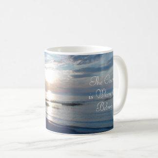 Caneca De Café O oceano é o lugar onde eu pertenço citações,