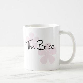 Caneca De Café O Pastel cor-de-rosa floresce a noiva