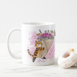 Caneca De Café O primavera floresce o gato