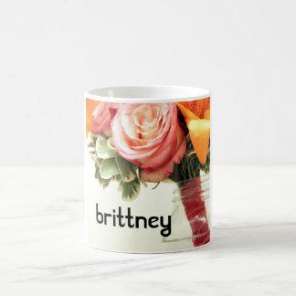Caneca De Café o rosa cor-de-rosa da laranja das flores para