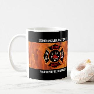 Caneca De Café O sapador-bombeiro arde o nome e o departamento do