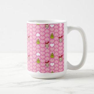 Caneca De Café O teste padrão cor-de-rosa do coração de Grinch &