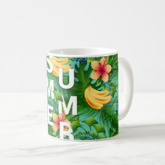 Caneca De Café O texto tropical do verão na banana floresce o