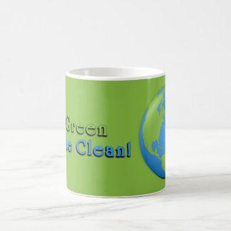 Caneca De Café O verde clássico 3D da terra vai verde, respira