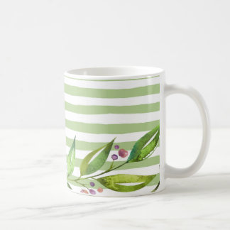 Caneca De Café O verde corajoso da arte da aguarela listra o