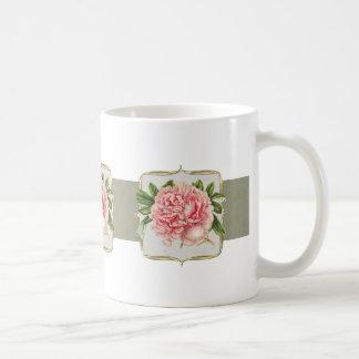 Caneca De Café O vintage cor-de-rosa floresce largamente