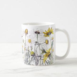 Caneca De Café O Wildflower do crisântemo do vintage floresce a