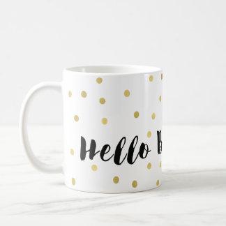 Caneca De Café Olá! confetes chamativos dos pontos do ouro bonito