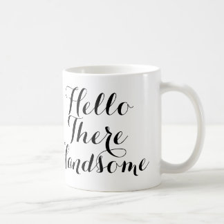 Caneca De Café Olá! lá considerável com roteiro preto/branco