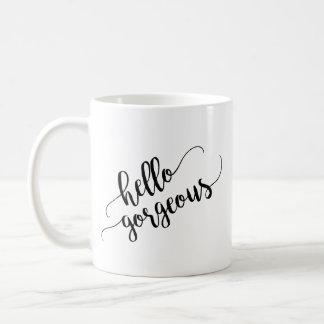 Caneca De Café Olá! tipografia lindo