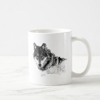 Caneca De Café Olhos inspirados brancos pretos do lobo