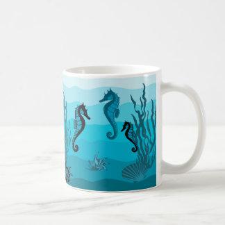 Caneca De Café Ondas, Aqua, impressão azul de oceano, escudos do